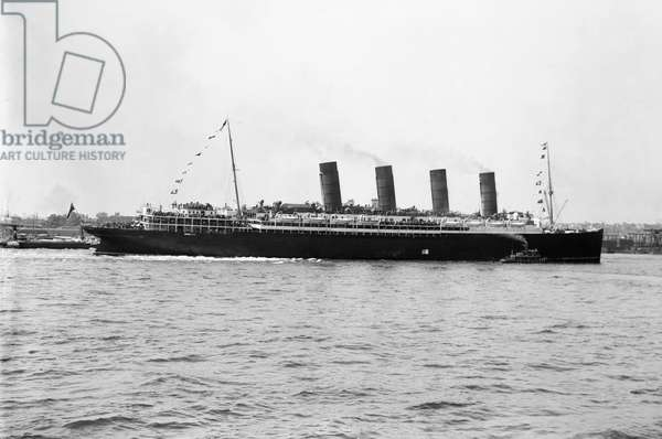 WORLD WAR I: LUSITANIA The Cunard steamship 'Lusitania,' first used in 1907 and torpedoed by a German submarine near the Irish coast on 7 May 1915.