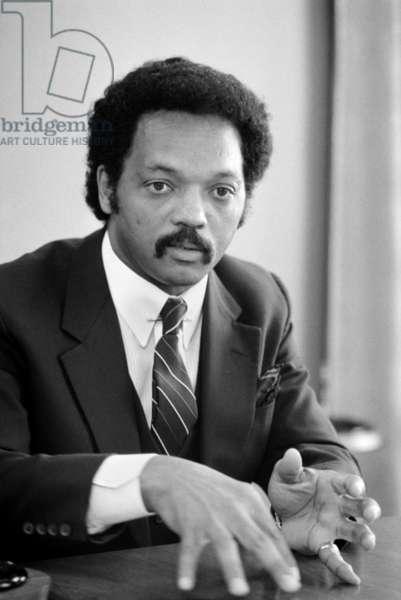 JESSE JACKSON (1941- ) American civil rights leader. Photographed by Warren K. Leffler, 1983.