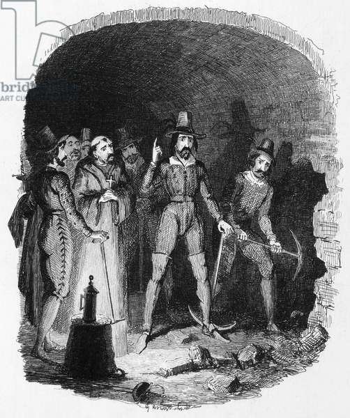 GUY FAWKES (1570-1606) English conspirator. Guy Fawkes and his fellow conspirators alarmed while digging the mine under the House of Lords, November 1605. Etching by George Cruikshank, 19th century.
