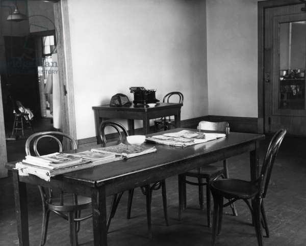 ELLIS ISLAND, c.1943 The recreation room for Italian 'enemy aliens' detained on Ellis Island during World War II. Photograph, c.1943.