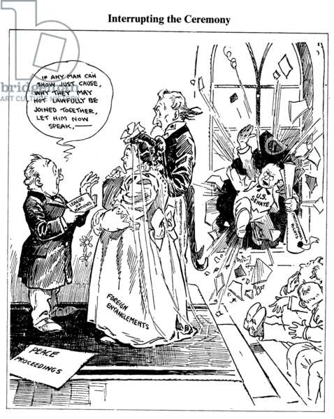 LEAGUE OF NATIONS CARTOON 'Interupting the Ceremony.' John T. McCutcheon's 1918 cartoon on the Senate fight against the League of Nations.