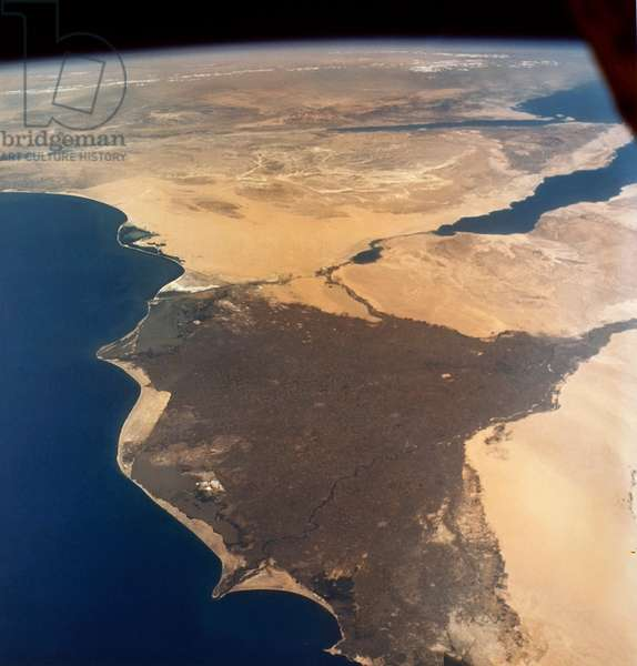 EARTH FROM SPACE, 1965 A view of the Nile Delta in Egypt, also showing the Suez Canal, the Sinai peninsula, Israel, Jordan, and Saudi Arabia. Photographed from the Gemini IV spacecraft, 1965.