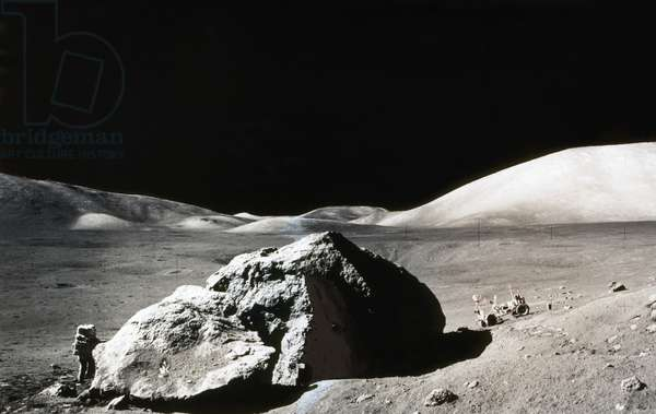 APOLLO 17: MOON, 1972 Astronaut Harrison Schmitt exploring the surface of the moon. Composite photograph, 1972.