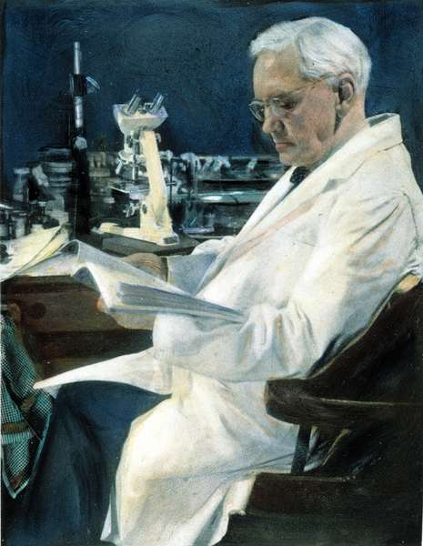 SIR ALEXANDER FLEMING (1881-1955) in his last laboratory at the Wright Fleming Institute, 1954.