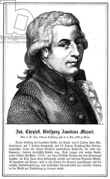 WOLFGANG AMADEUS MOZART (1756-1791). Austrian composer. Line engraving, German, 19th century, after an apocryphal painting attributed to A.W. Tischbein.