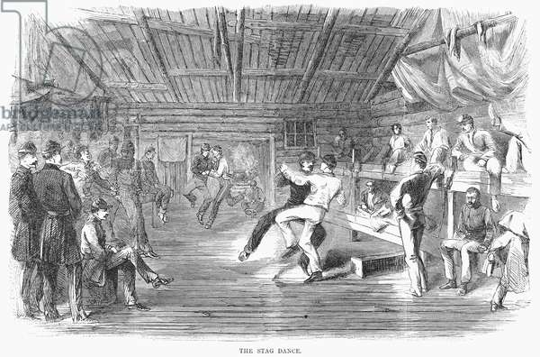 CIVIL WAR: DANCE, 1864 'The Stag Dance.' Union soldiers dancing with each other. Wood engraving, American, 1864.