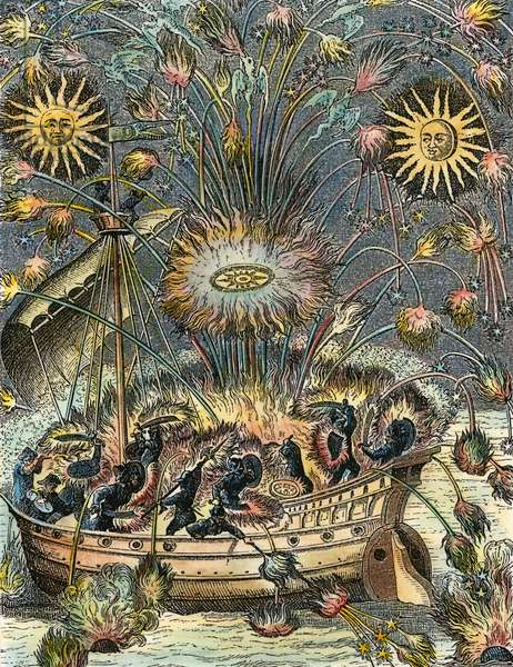 FIREWORKS, 1630 Fireworks on water with an imitation of Naval Combat. Copper engraving, French, 1630.