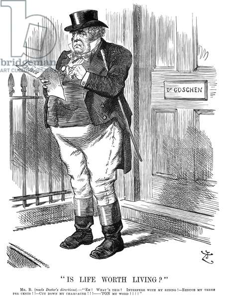 BRITISH TAXATION, 1888 'Is Life Worth Living?' English cartoon by Sir John Tenniel, 1888, on the luxuries tax increases proposed in the new budget of Chancellor of the Exchequer George Goschen.