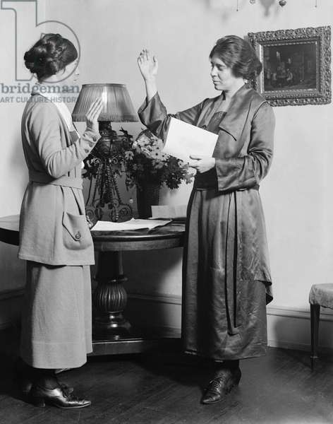 ALICE PAUL (1885-1977) American social reformer and founder of the National Woman's Party. Photographed with suffragist Catherine Flanagan, 1910s.