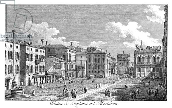 VENICE: STEFANO, 1735 Campo San Stefano in Venice, Italy,(formerly named after Francesco Morosini) with Palazzo Morosini left of center and Palazzo Loredan on the right. Engraving, 1735, by Antonio Visentini after Canaletto.