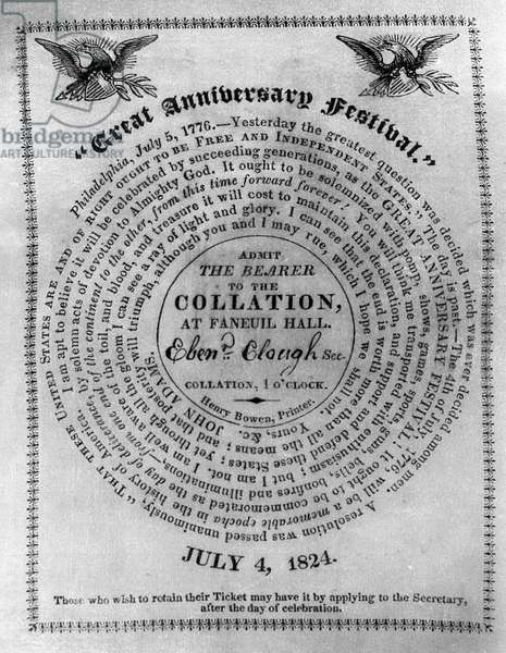 COLLATION TICKET, 1824 Ticket to the collation at Faneuil Hall in Boston, issued by John Quincy Adams in observance of the 4th of July, 1824, with a quotation by John Adams.