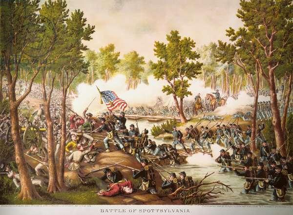 BATTLE OF SPOTSYLVANIA The Battle of Spotsylvania, 12 May 1864. Lithograph, 1892, by Kurz & Allison.
