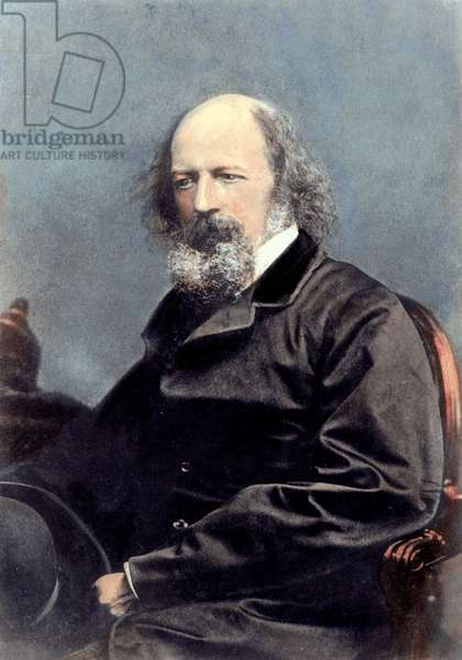 LORD ALFRED TENNYSON (1809-1892). English Baron and poet. Oil over a photograph, c.1870.