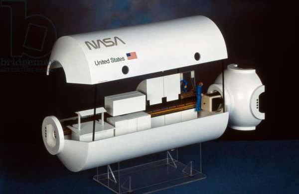 SPACE: LABORATORY, c.1985 Model of a laboratory on a NASA spacecraft. Photograph, c.1985.