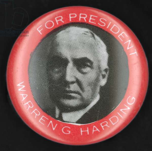 PRESIDENTIAL CAMPAIGN:1920 Republican campaign button from the 1920 Presidential election featuring Warren G. Harding.