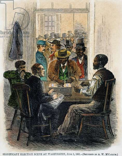 RECONSTRUCTION, 1867 Black freedmen voting at Washington, D.C., 5 June 1867. Contemporary American wood engraving.