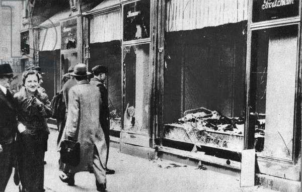 KRISTALLNACHT POGROM A storefront blast in Germany following the Kristallnacht pogrom of 9-10 November 1938.