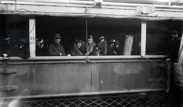 WORLD WAR I: LUSITANIA Passengers on the Cunard steamship 'Lusitania,' first used in 1907 and torpedoed by a German submarine near the Irish coast on 7 May 1915.
