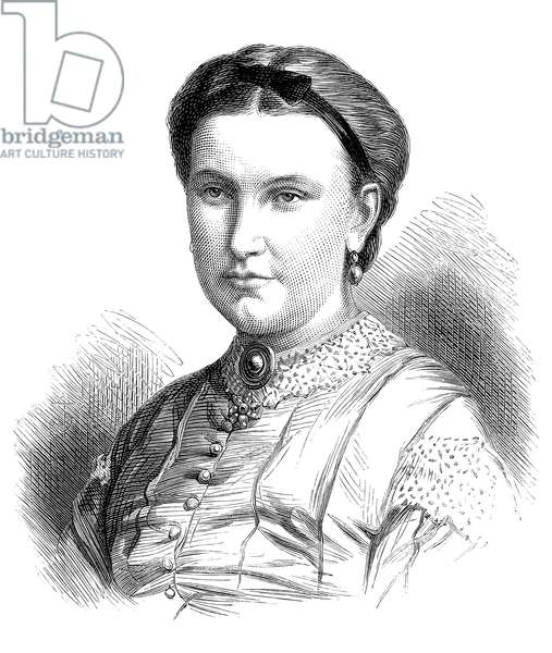 FLORENCE BAKER (fl. 1860-1873) Née von Sass. Hungarian traveler and wife of Sir Samuel White Baker. Wood engraving, English, 1873.