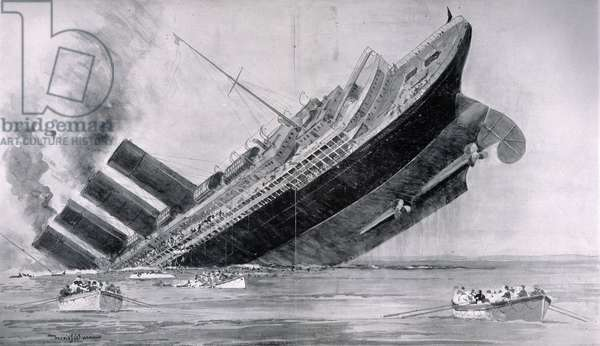 WORLD WAR I: LUSITANIA The sinking of the Cunard liner Lusitania, 7 May 1915, by a German submarine off the coast of Ireland. Illustration from a contemporary English newspaper.