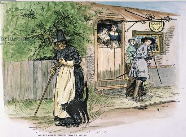 SALEM WITCH TRIALS An old woman viewed with suspicion on the streets of Salem, Massachusetts at the time of the witch trials. Illustration, 1883, by Howard Pyle to accompany his poem, 'Ye True Story of Granny Greene of Salem Towne.'
