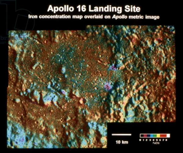 MOON: APOLLO 16 SITE Composite image showing the concentration of iron at the Apollo 16 landing site on the surface of the moon. Image created from data collected by the spacecraft Clementine, 1994.