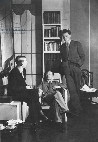 AUDEN, ISHERWOOD, SPENDER. English writers W.H. Auden, Christopher Isherwood, and Stephen Spender; photographed in 1938.