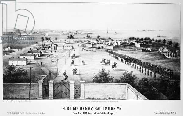 FORT McHENRY, 1862 Fort McHenry at Locust Point in Baltimore, Maryland. The fort served as a prison during the American Civil War. Lithograph, 1862.