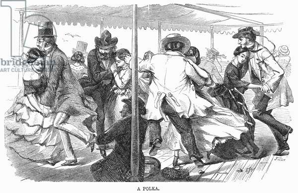 DANCE: POLKA, 1858 Dancing the polka during an excursion by steamboat on the Eastern seaboard. Wood engraving, American, 1858.
