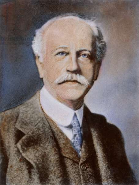 PERCIVAL LOWELL (1855-1916). American astronomer: oil over a photograph, n.d.
