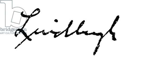 CHARLES A. LINDBERGH (1902-1974). American aviator. Autograph signature.