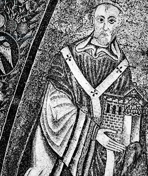 POPE INNOCENT II (d. 1145) Pope, 1130-1143. Portrait from an apse mosaic in St. Maria in Trastevere, the church which he rebuilt, and of which, according to custom, he is holding a model.