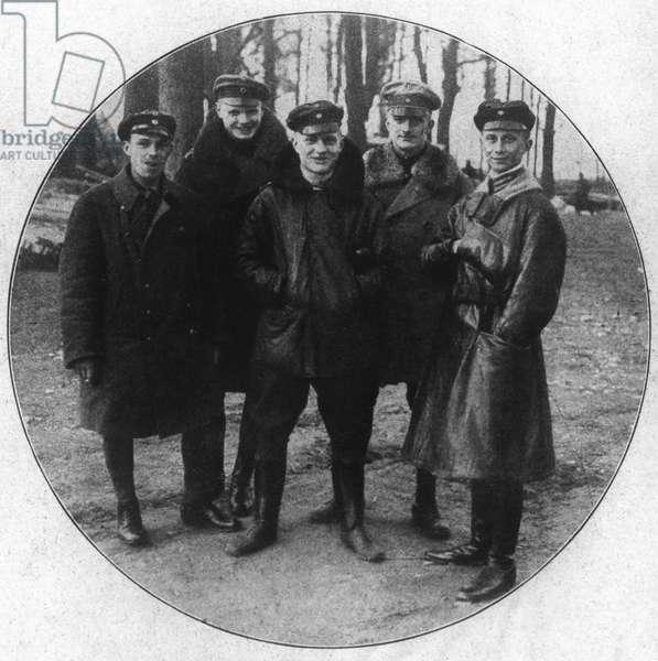 WWI: GERMAN PILOTS German fighter pilot squadron. Left to right: Sebastian Fester, Karl-Emil Schaefer, Manfred von Richthofen, Lothar von Richthofen and Kurt Wolff. Photograph, c.1917.