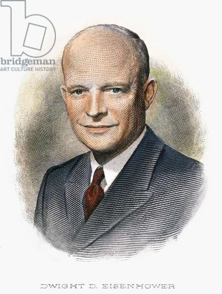 DWIGHT D. EISENHOWER (1890-1969). 34th President of the United States. Contemporary engraving.