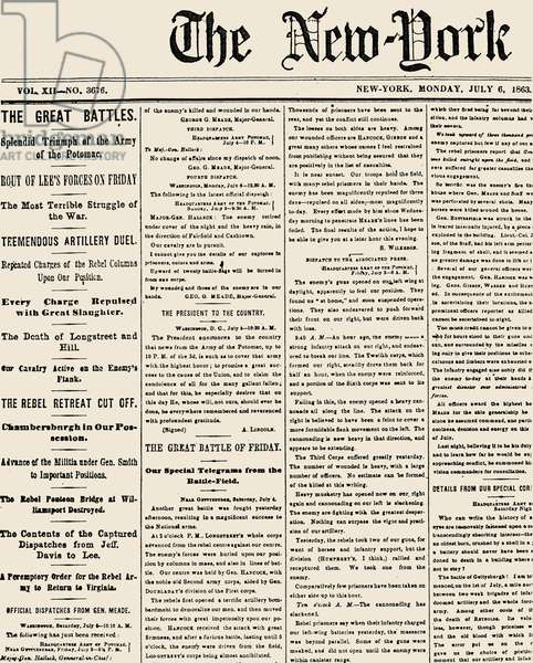 GETTYSBURG HEADLINE, 1863 Battle of Gettysburg, 1-3 July 1863. Detail of the front page of the 'New York Times' of 6 July 1863 reporting the Union victory.