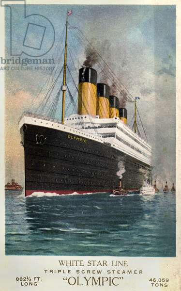 RMS OLYMPIC, 1911 The RMS 'Olympic' ocean liner at sea. The ship was built for the White Star Line, which also included Titanic and Britannic. Unlike her sisters, Olympic served a long and illustrious career (1911 to 1935), becoming known as 'Old Reliable.' Photochrome, c.1910-1915.