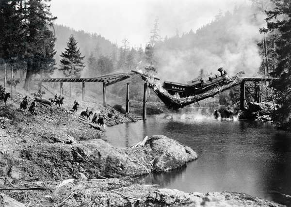 BUSTER KEATON: THE GENERAL A Civil War era locomotive crashes into the Rock River in Buster Keaton's 1927 film 'The General.'