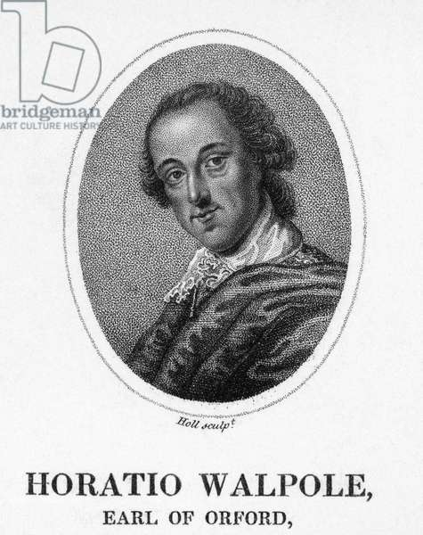 HORACE WALPOLE (1717-1797) 4th Earl of Orford. English man of letters and collector. Aquatint engraving, 1820.
