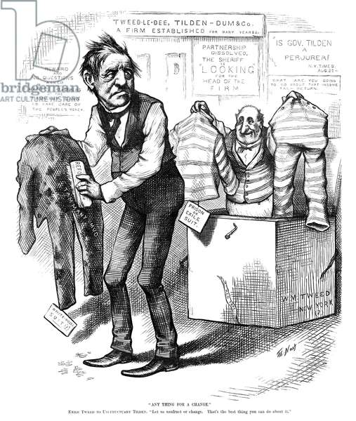 "SAMUEL J. TILDEN (1814-1886) Samuel Jones Tilden. American political leader. '""Any Thing for a Change."" Exile Tweed to Usufructuary Tilden. ""Let us usufruct of change. That's the best thing you can do about it.""' Cartoon by Thomas Nast, 1876, criticizing Tilden's stinginess and will to usufruct, or profit from something that is not his."