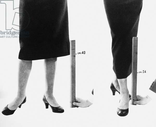 FASHION: DIOR, 1947 In 1947, the dropping of skirt lengths in the Christian Dior collection gave a 'New Look' to fashion.