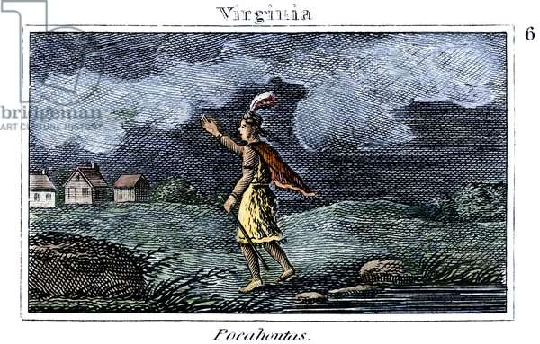 POCAHONTAS (1595-1617) Native American princess. Pocahontas on her way to visit the colonists at Jamestown. coloured  engraving, American, 1829.