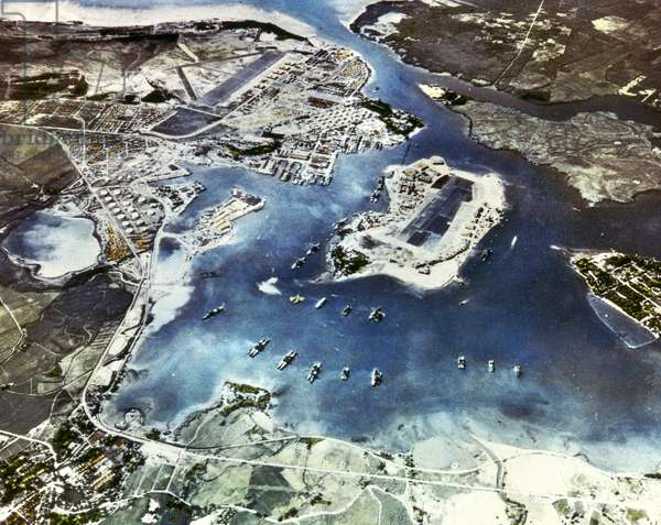 WORLD WAR II: PEARL HARBOR Aerial view of the U.S. naval base at Pearl Harbor, Hawaii, on the morning of 7 December 1941, shortly before the Japanese attack.