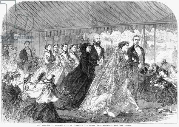 ROYAL WEDDING, 1866 'The marriage of Princess Mary of Cambridge and Prince Teck: Procession from the church.' Engraving, 1866.