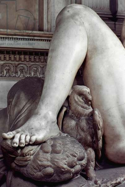 MICHELANGELO: NIGHT Detail of marble figure of Night from tomb of Giuliano di Lorenzo de' Medici, Florence.