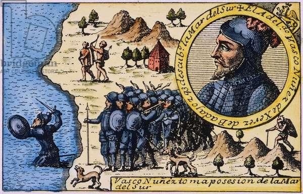 VASCO NUNEZ de BALBOA (1475-1519). Spanish explorer. Balboa taking possession of the Pacific Ocean for Spain, 29 September 1513. Spanish line engraving, early 18th century.