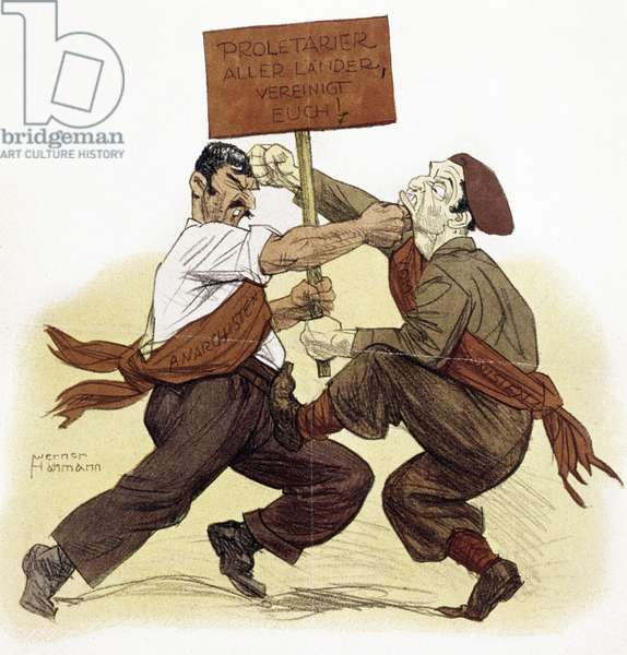 SPANISH CIVIL WAR, 1937 'Russian Ballet in Barcelona.' A Spanish anarchist Republican fighting with a Soviet Communist for a sign which reads 'Proletariat of all countries, unite!' German cartoon depicting the factional disputes within the Republican ranks during the Spanish Civil War, June 1937.
