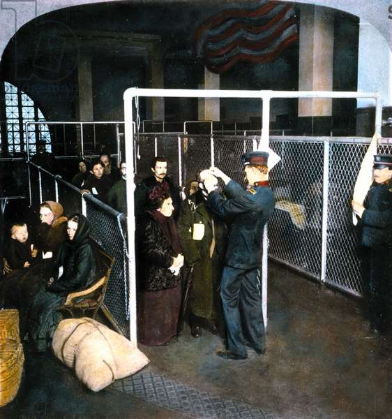 IMMIGRANTS: 1913 Federal medical inspector examining the eyes of immigrants at Ellis Island in 1913. Oil over a photograph.