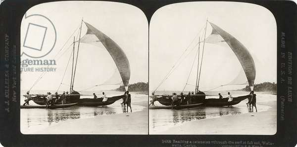 CEYLON: SAILING, 1907 'Beaching a catamaran - through the surf at full sail, Wellawatta, Ceylon.' Stereograph, 1907.