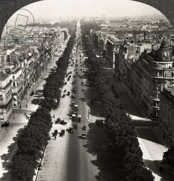 PARIS: ARC DE TRIOMPHE View of the Champs-Élysées from atop the Arc de Triomphe, Paris, France. Stereograph, c.1900.