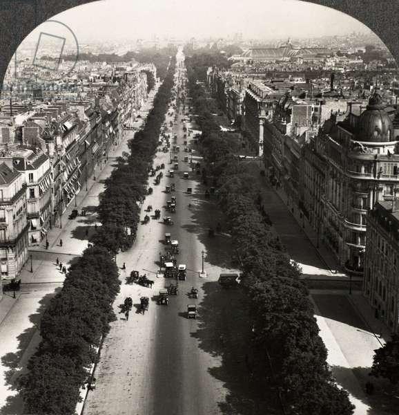 PARIS: ARC DE TRIOMPHE View of the Champs-Élysées from atop the Arc de Triomphe, Paris, France. Stereograph, c.1900.